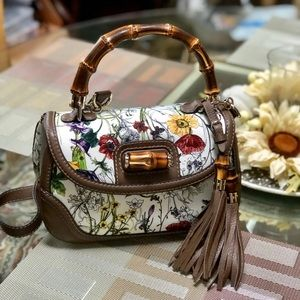 NWT Auth Gucci Bamboo floral Top Handle Bag